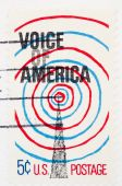 Usa - Circa 1967: A Stamp Printed By Usa Shows A Radio Tower And Voice Of America, Circa 1967.
