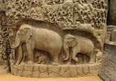 Indian bas-relief with elephants and Indians