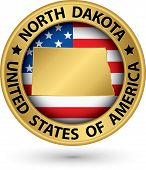 North Dakota State Gold Label With State Map, Vector Illustration