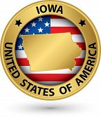Iowa State Gold Label With State Map, Vector Illustration