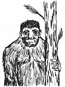 stock photo of bigfoot  - hand drawn sketch cartoon illustration of bigfoot - JPG