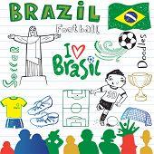 Brazilian soccer, set of sketches.