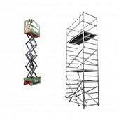 The image of scaffold and lift under the white background