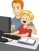 Illustration of a Father Teaching His Son How to Use a Computer