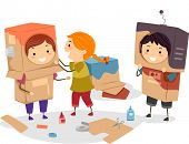 Illustration of Kids Making Makeshift Robots Using Cartons