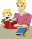 Illustration of a Father and Son Reading a Book Together