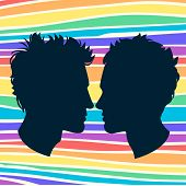 Profiles of two men homosexual couple. Rainbow background