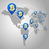 picture of bitcoin  - Bitcoin global business concept Dot World maps with Bitcoin virtual currency - JPG