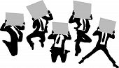 Silhouettes Of Business Man Holding Whiteboard