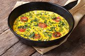Italian Frittata With Tomatoes And Herbs In The Pan