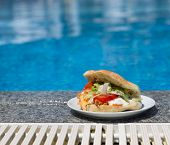 Sandwich Near The Swimming Pool