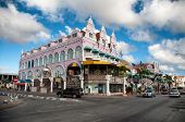 ORANJESTAD, ARUBA, CARIBBEAN -Ã??Ã?? DEC 2013: House exteriors at Oranjestad on Aruba in Dec 2013