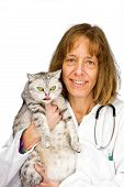 Female veterinarian holding cat