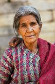 BHAKTAPUR, NEPAL, NOVEMBER 27 : close portrait of an old Nepalese woman in  Bhaktapur, Nepal on 27 N