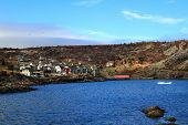 Brigus Cove Newfoundland, Part Of Village And Junks Of Iceberg