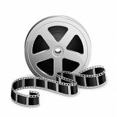 image of twist  - Film reel and twisted cinema tape isolated on white background - JPG