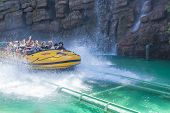 Los Angeles -usa, October, 3: Excited People Taking Boat Water Attraction Sliding From The Steep Slo
