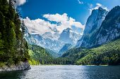 stock photo of emerald  - Beautiful lake in high mountains Alps Austria - JPG