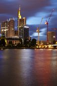 Frankfurt - Skyline With Rain Clouds In The Evening
