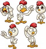 Cartoon hen with different emotions. Vector clip art illustration with simple gradients. Each one on a separate layer.
