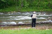 Retired Man Trout Fishing