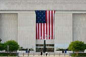 Washington D.C. -  National Museum of American History main entrance with huge U.S. Flag