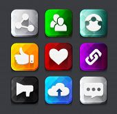 Set of color social network icon buttons with cloud  like hand chain links people chat global network heart. Vector illustration