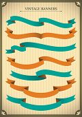 Set of vintage ribbon banners. Vector illustration.