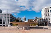Terrace And State Capitol In Madison Wisconsin