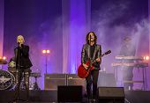 RUSSIA - OCT 28: Marie Fredriksson, Per Gessle (Roxette) performs on October 30,2014 in Khabarovsk
