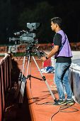 Sisaket Thailand-october 29: Cameraman During Thai Premier League Match Between Sisaket Fc And Army
