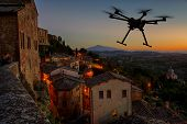 Flying Drone In The Sunset Skies