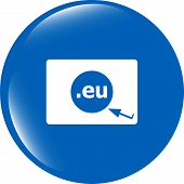 Domain Eu Sign Icon. Top-level Internet Domain Symbol With Cursor Pointer