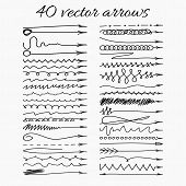 Set of 40 vector hand-drawn arrows. Vector illustration. Easy paste to any background.