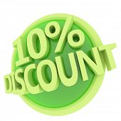 3d rendered, green 10 percent discount button