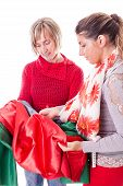 Dressmakers Choosing The Fabric