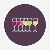 Wine glasses icon. Red, white and rose wine. Vector illustration, isolated on the background. Easy p