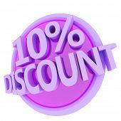 3d rendered, green 10 percent discount button