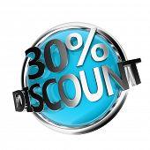 3d rendered blue discount button - 30%