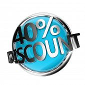 3d rendered blue discount button - 40%