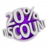 3d rendered purple discount button - 20%