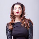 Sexy Woman Studio Shooting On Grey Background