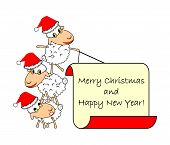 Funny Christmas Cartoon Sheep