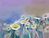Gerbera flower.Oil painting.