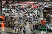 Top View Of People And Booths At Eicma 2014 In Milan, Italy