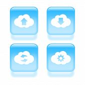 Glassy Contacts Icons. Vector Illustration