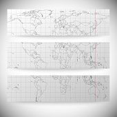 Set of horizontal banners. Gray Political World Map Vector
