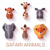Vector set of six Safari animals on white background