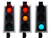 stock photo of traffic light  - set of british traffic lights isolated on white background - JPG