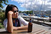 Thai woman in marina